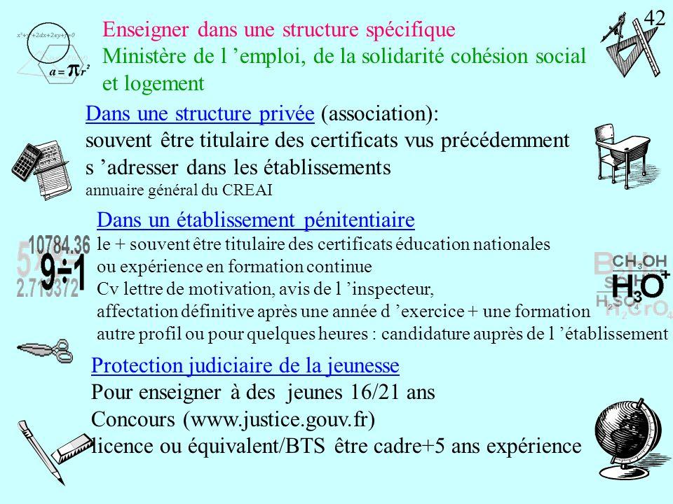 Enseigner dans une structure spécifique Ministère de l emploi, de la solidarité cohésion social et logement Pour enseigner à des déficients sensoriels