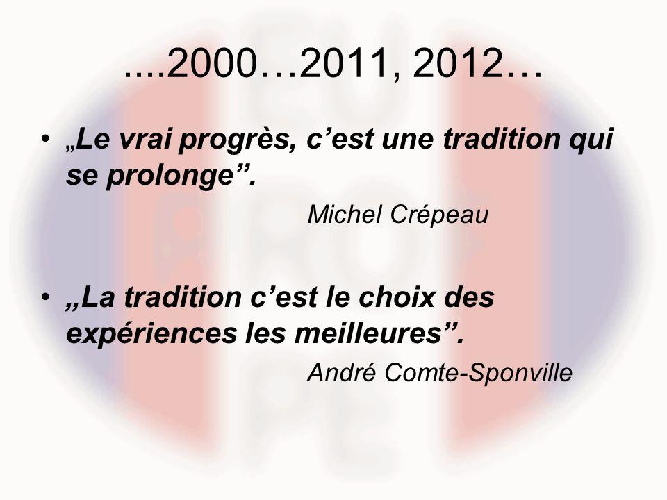 ....2000…2011, 2012… Le vrai progrès, cest une tradition qui se prolonge. Michel Crépeau La tradition cest le choix des expériences les meilleures. An