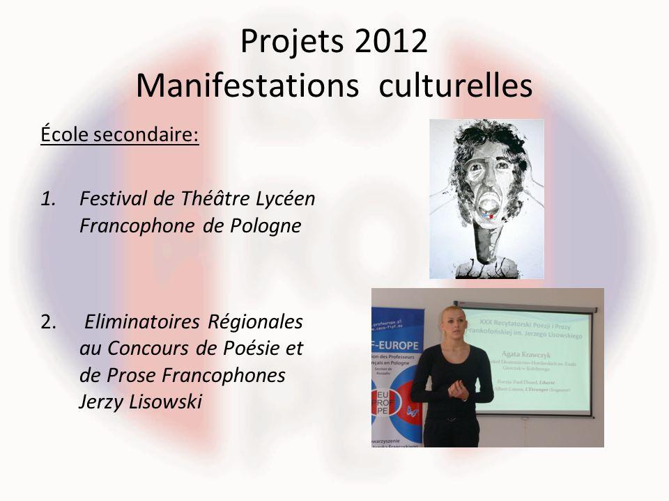 Projets 2012 Manifestations culturelles École secondaire: 1.Festival de Théâtre Lycéen Francophone de Pologne 2. Eliminatoires Régionales au Concours