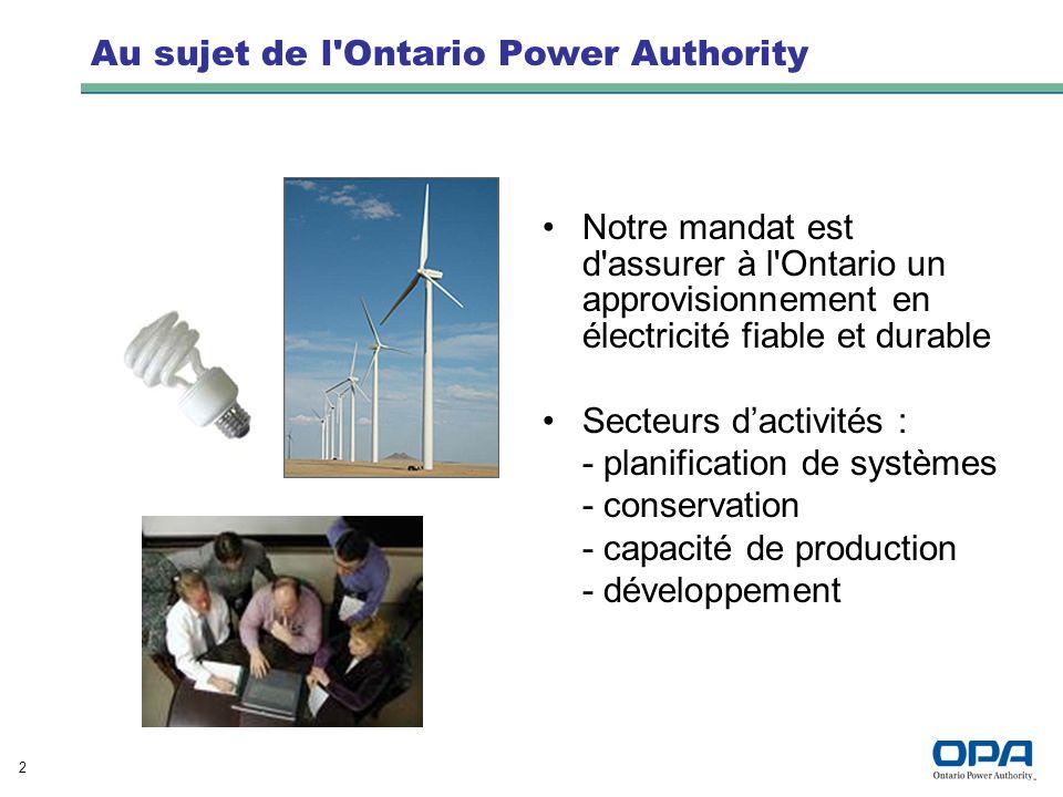 2 Au sujet de l Ontario Power Authority Notre mandat est d assurer à l Ontario un approvisionnement en électricité fiable et durable Secteurs dactivités : - planification de systèmes - conservation - capacité de production - développement