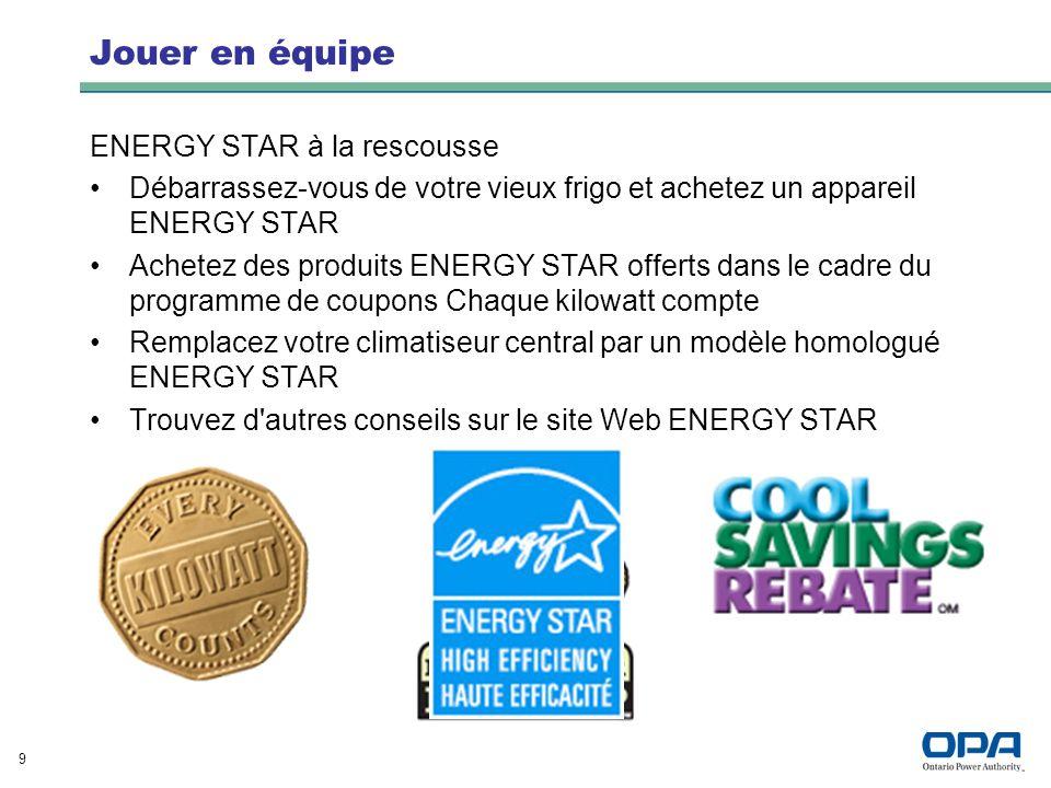 9 Jouer en équipe ENERGY STAR à la rescousse Débarrassez-vous de votre vieux frigo et achetez un appareil ENERGY STAR Achetez des produits ENERGY STAR
