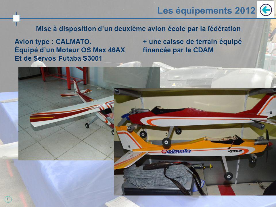 11 Les équipements 2012 Mise à disposition dun deuxième avion école par la fédération Avion type : CALMATO. Équipé dun Moteur OS Max 46AX Et de Servos
