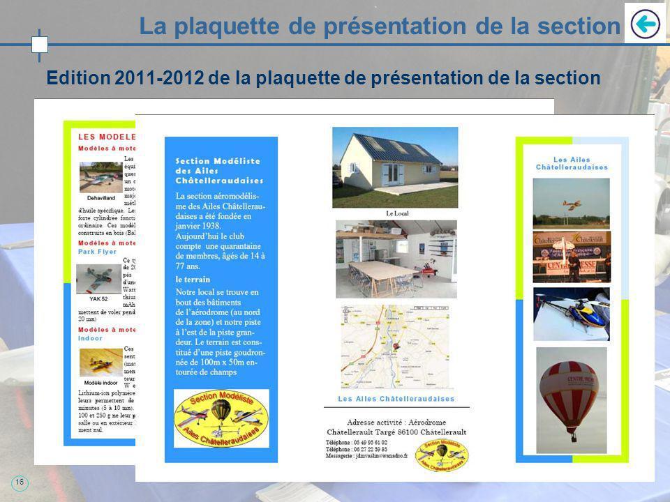 16 La plaquette de présentation de la section Edition 2011-2012 de la plaquette de présentation de la section