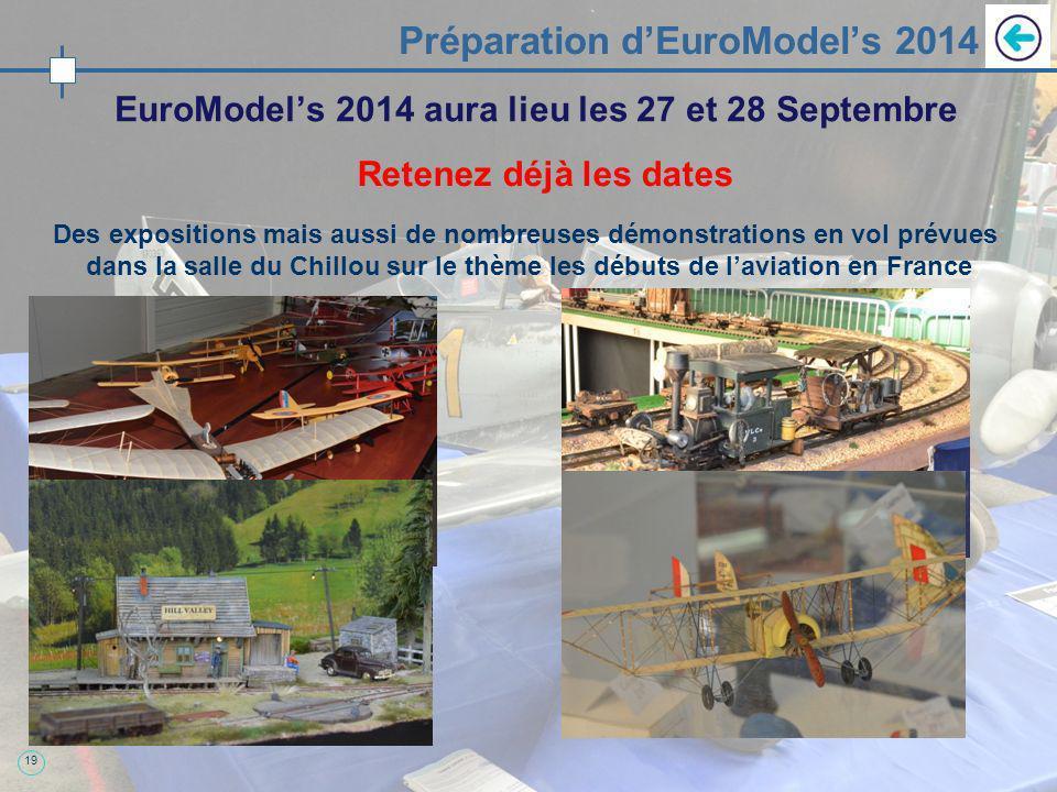 19 Préparation dEuroModels 2014 EuroModels 2014 aura lieu les 27 et 28 Septembre Retenez déjà les dates Des expositions mais aussi de nombreuses démonstrations en vol prévues dans la salle du Chillou sur le thème les débuts de laviation en France