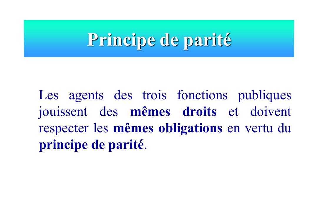 Principe de parité Les agents des trois fonctions publiques jouissent des mêmes droits et doivent respecter les mêmes obligations en vertu du principe