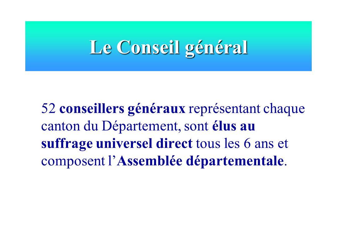 52 conseillers généraux représentant chaque canton du Département, sont élus au suffrage universel direct tous les 6 ans et composent lAssemblée dépar