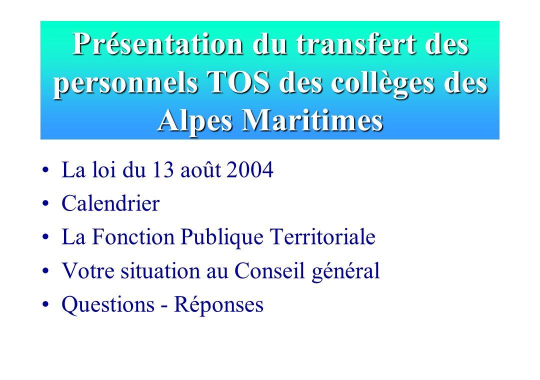 Présentation du transfert des personnels TOS des collèges des Alpes Maritimes La loi du 13 août 2004 Calendrier La Fonction Publique Territoriale Votr