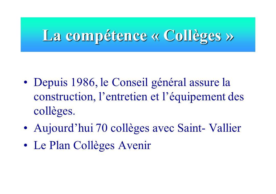 Depuis 1986, le Conseil général assure la construction, lentretien et léquipement des collèges. Aujourdhui 70 collèges avec Saint- Vallier Le Plan Col