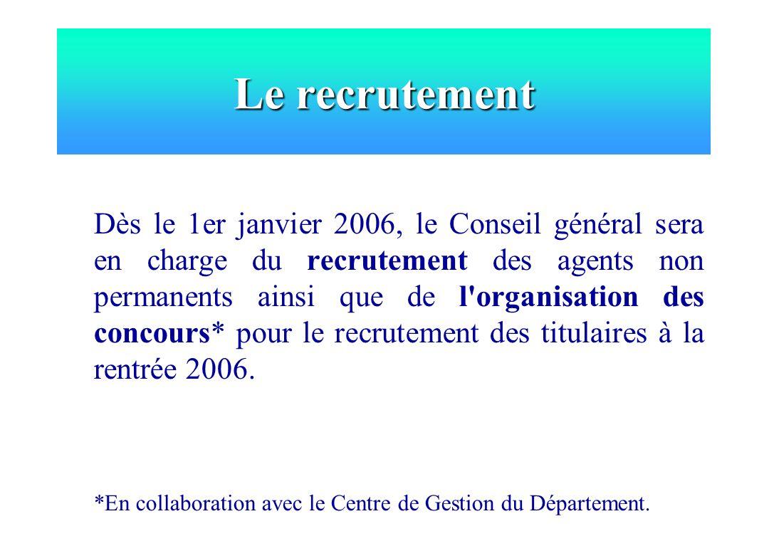 Le recrutement Dès le 1er janvier 2006, le Conseil général sera en charge du recrutement des agents non permanents ainsi que de l'organisation des con