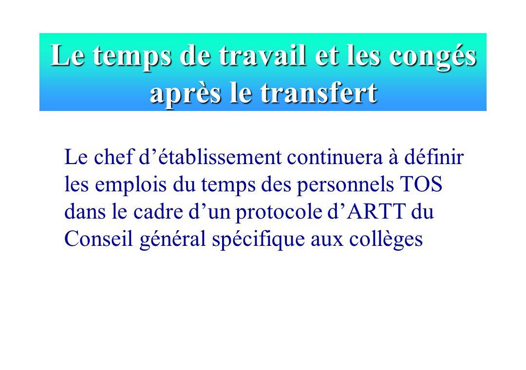Le temps de travail et les congés après le transfert Le chef détablissement continuera à définir les emplois du temps des personnels TOS dans le cadre