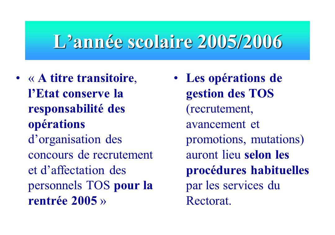 Lannée scolaire 2005/2006 « A titre transitoire, lEtat conserve la responsabilité des opérations dorganisation des concours de recrutement et daffecta