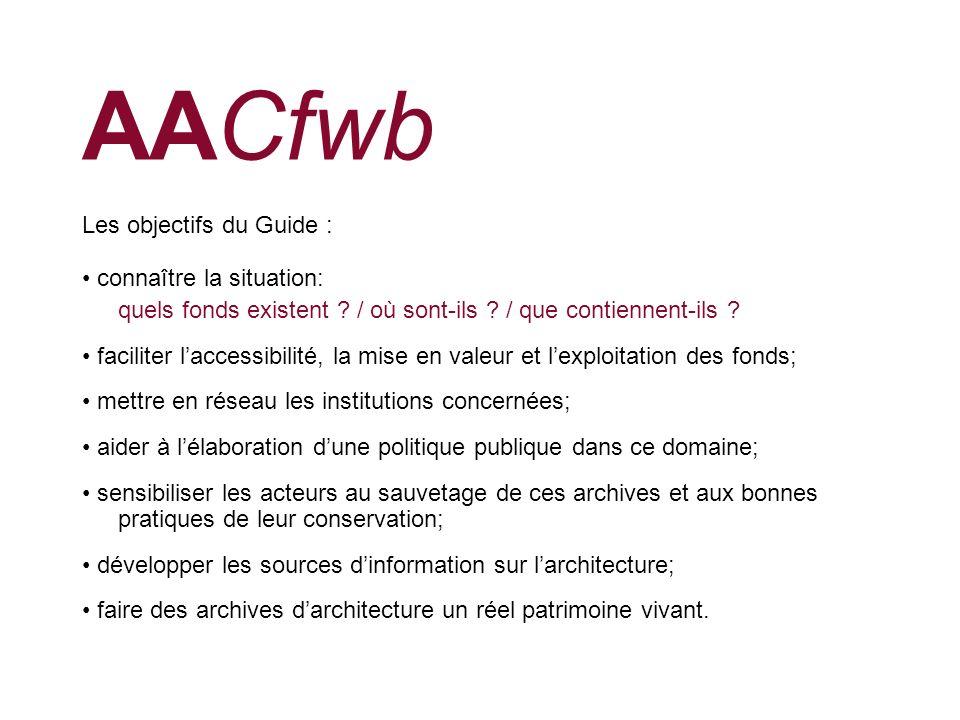 AACfwb Les objectifs du Guide : connaître la situation: quels fonds existent ? / où sont-ils ? / que contiennent-ils ? faciliter laccessibilité, la mi