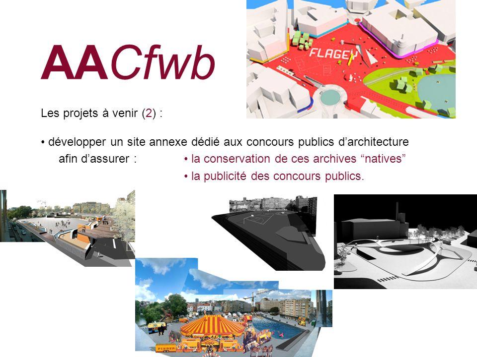 AACfwb Les projets à venir (2) : développer un site annexe dédié aux concours publics darchitecture afin dassurer : la conservation de ces archives na