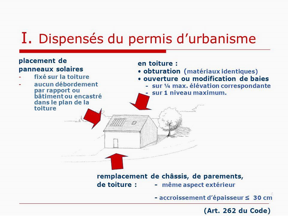 I. Dispensés du permis durbanisme placement de panneaux solaires -fixé sur la toiture -aucun débordement par rapport ou bâtiment ou encastré dans le p