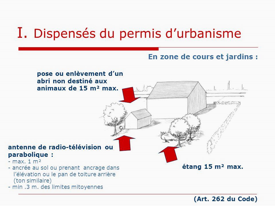 I. Dispensés du permis durbanisme (Art. 262 du Code) En zone de cours et jardins : pose ou enlèvement dun abri non destiné aux animaux de 15 m² max. é