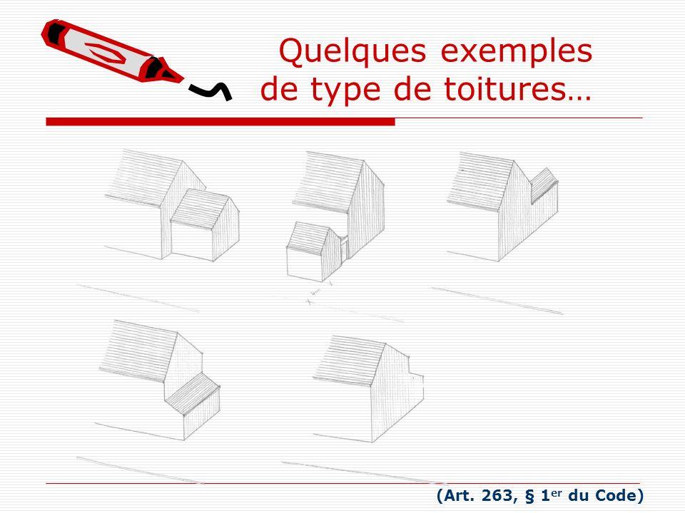 (Art. 263, § 1 er du Code) Quelques exemples de type de toitures…