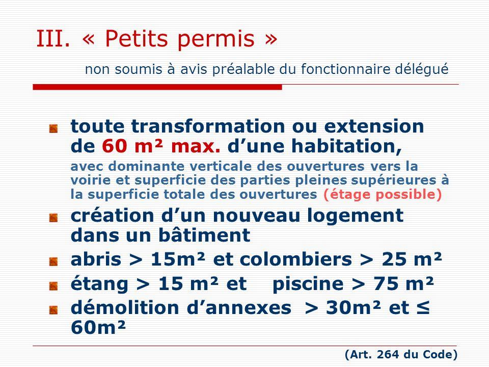 III. « Petits permis » non soumis à avis préalable du fonctionnaire délégué toute transformation ou extension de 60 m² max. dune habitation, avec domi