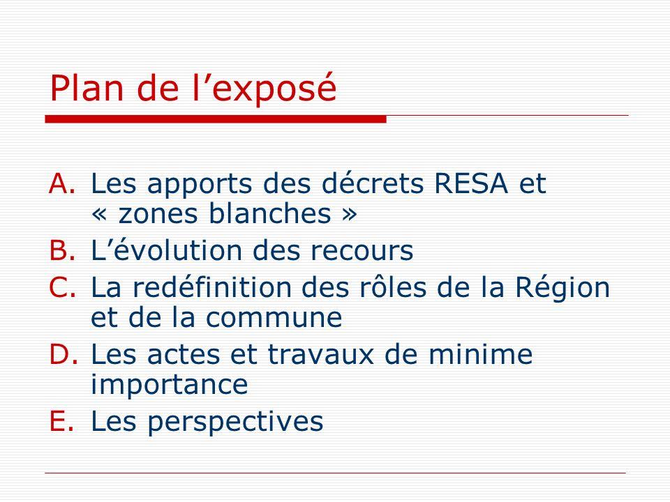 Plan de lexposé A.Les apports des décrets RESA et « zones blanches » B.Lévolution des recours C.La redéfinition des rôles de la Région et de la commun