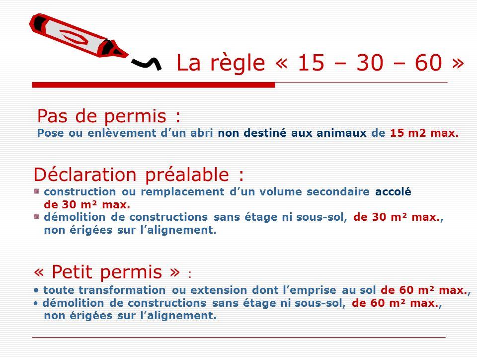 La règle « 15 – 30 – 60 » Pas de permis : Pose ou enlèvement dun abri non destiné aux animaux de 15 m2 max. « Petit permis » : toute transformation ou