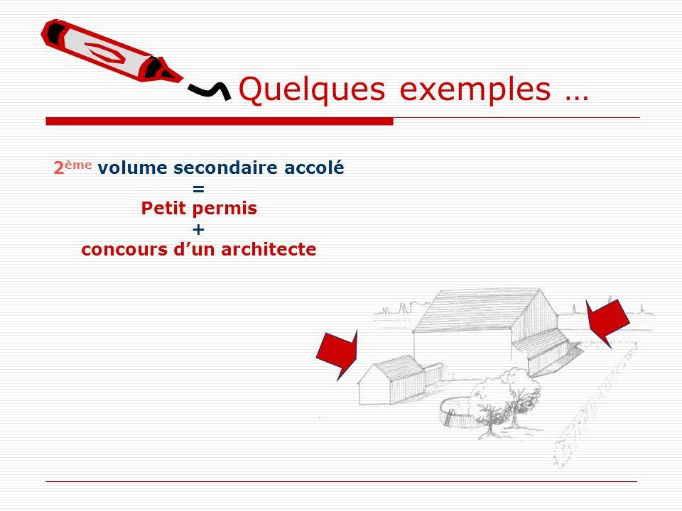 Quelques exemples … 2 ème volume secondaire accolé = Petit permis + concours dun architecte