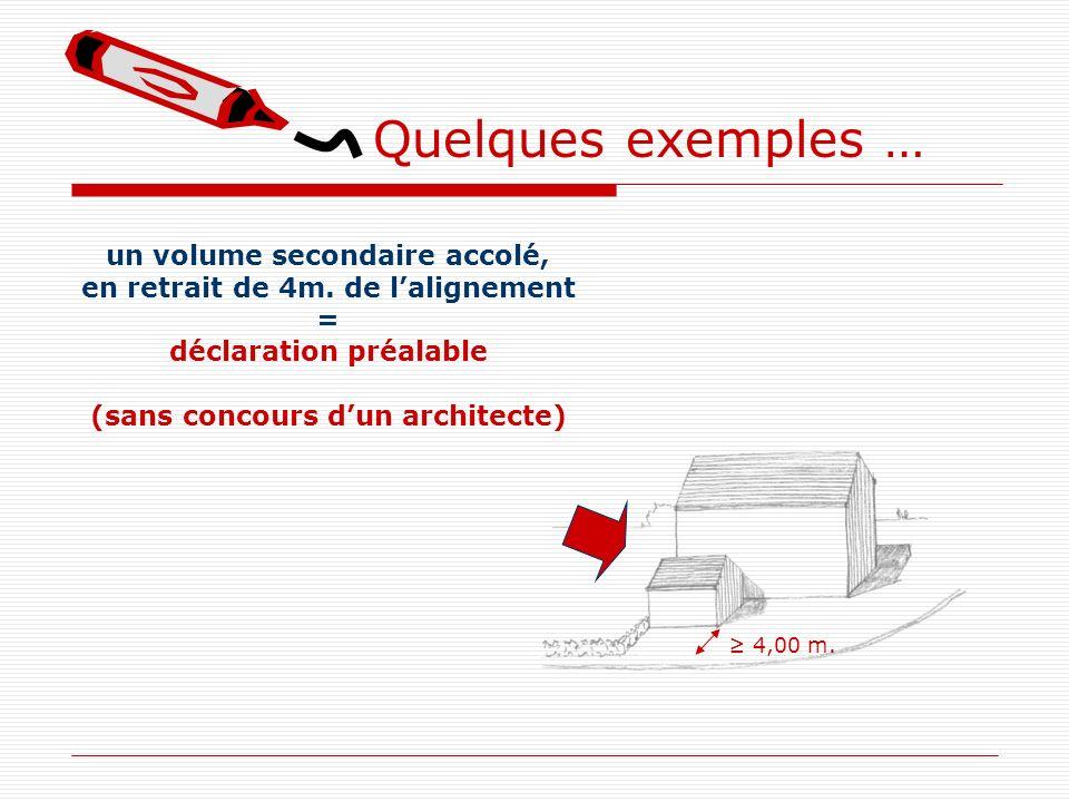 Quelques exemples … un volume secondaire accolé, en retrait de 4m. de lalignement = déclaration préalable (sans concours dun architecte) 4,00 m.