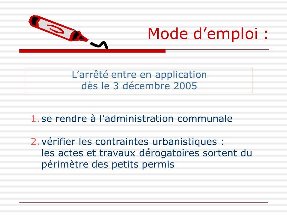 Mode demploi : 1.se rendre à ladministration communale 2.vérifier les contraintes urbanistiques : les actes et travaux dérogatoires sortent du périmèt