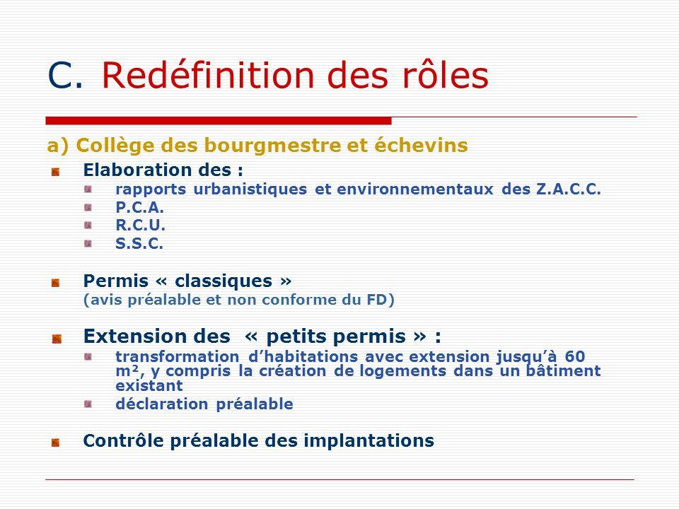 C.Redéfinition des rôles Elaboration des : rapports urbanistiques et environnementaux des Z.A.C.C. P.C.A. R.C.U. S.S.C. Permis « classiques » (avis pr