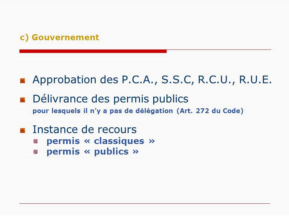 Approbation des P.C.A., S.S.C, R.C.U., R.U.E. Délivrance des permis publics pour lesquels il ny a pas de délégation (Art. 272 du Code) Instance de rec