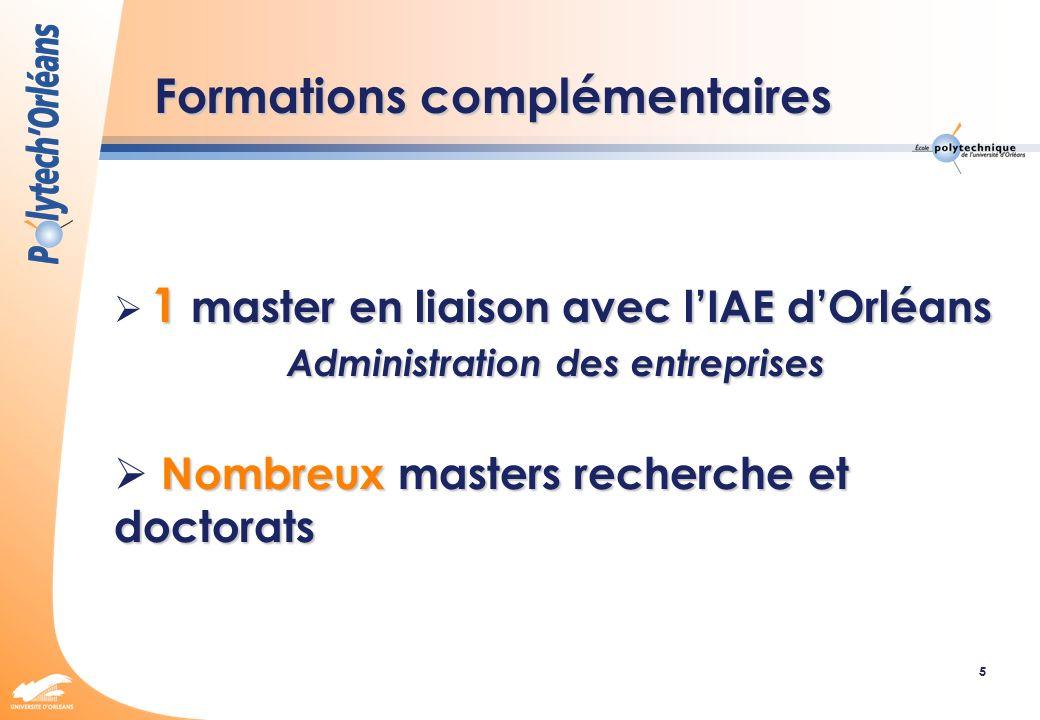 5 Formations complémentaires 1 master en liaison avec lIAE dOrléans Administration des entreprises Administration des entreprises Nombreux masters rec