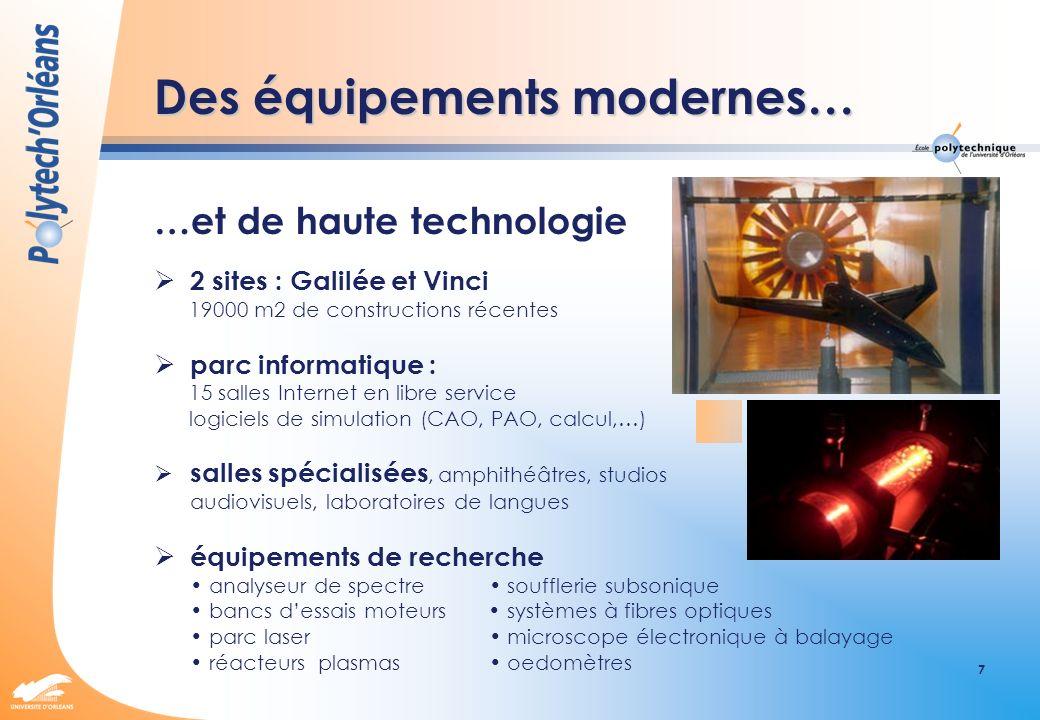 7 Des équipements modernes… …et de haute technologie 2 sites : Galilée et Vinci 19000 m2 de constructions récentes parc informatique : 15 salles Inter