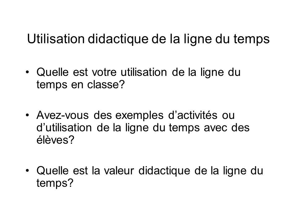 Utilisation didactique de la ligne du temps Quelle est votre utilisation de la ligne du temps en classe.