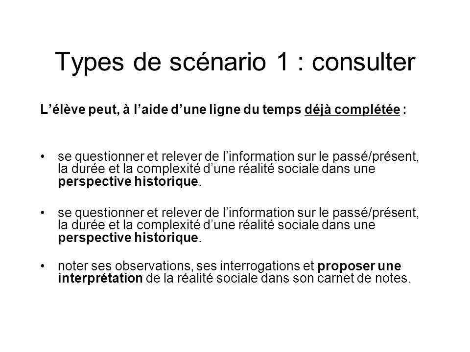 Types de scénario 1 : consulter Lélève peut, à laide dune ligne du temps déjà complétée : se questionner et relever de linformation sur le passé/prése
