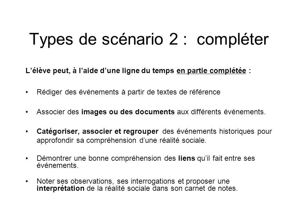 Types de scénario 2 : compléter Lélève peut, à laide dune ligne du temps en partie complétée : Rédiger des événements à partir de textes de référence Associer des images ou des documents aux différents événements.