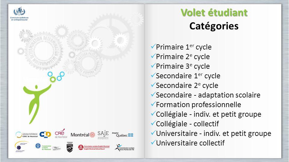 Volet étudiant Catégories Primaire 1 er cycle Primaire 2 e cycle Primaire 3 e cycle Secondaire 1 er cycle Secondaire 2 e cycle Secondaire - adaptation