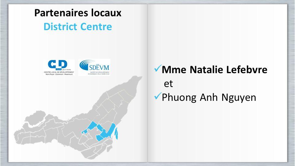 Partenaires locaux District Centre Partenaires locaux District Centre Mme Natalie Lefebvre et Phuong Anh Nguyen Mme Natalie Lefebvre et Phuong Anh Ngu