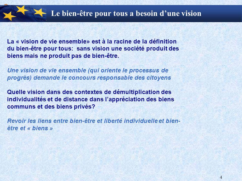 4 Le bien-être pour tous a besoin dune vision La « vision de vie ensemble» est à la racine de la définition du bien-être pour tous: sans vision une société produit des biens mais ne produit pas de bien-être.