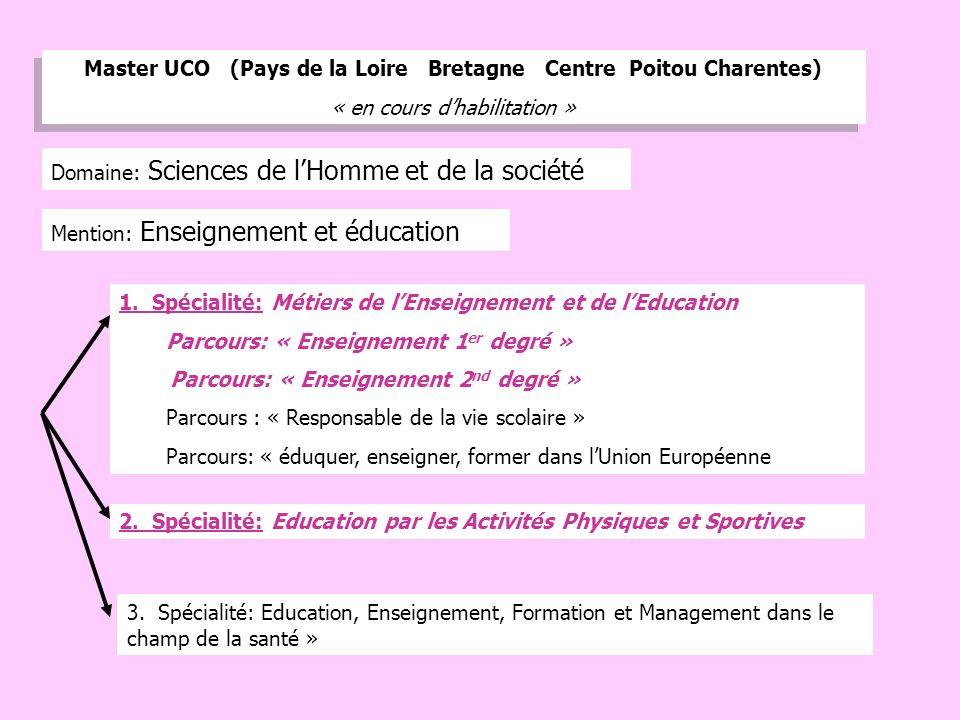 11 Mention: Enseignement et éducation Master UCO (Pays de la Loire Bretagne Centre Poitou Charentes) « en cours dhabilitation » Master UCO (Pays de la Loire Bretagne Centre Poitou Charentes) « en cours dhabilitation » 1.