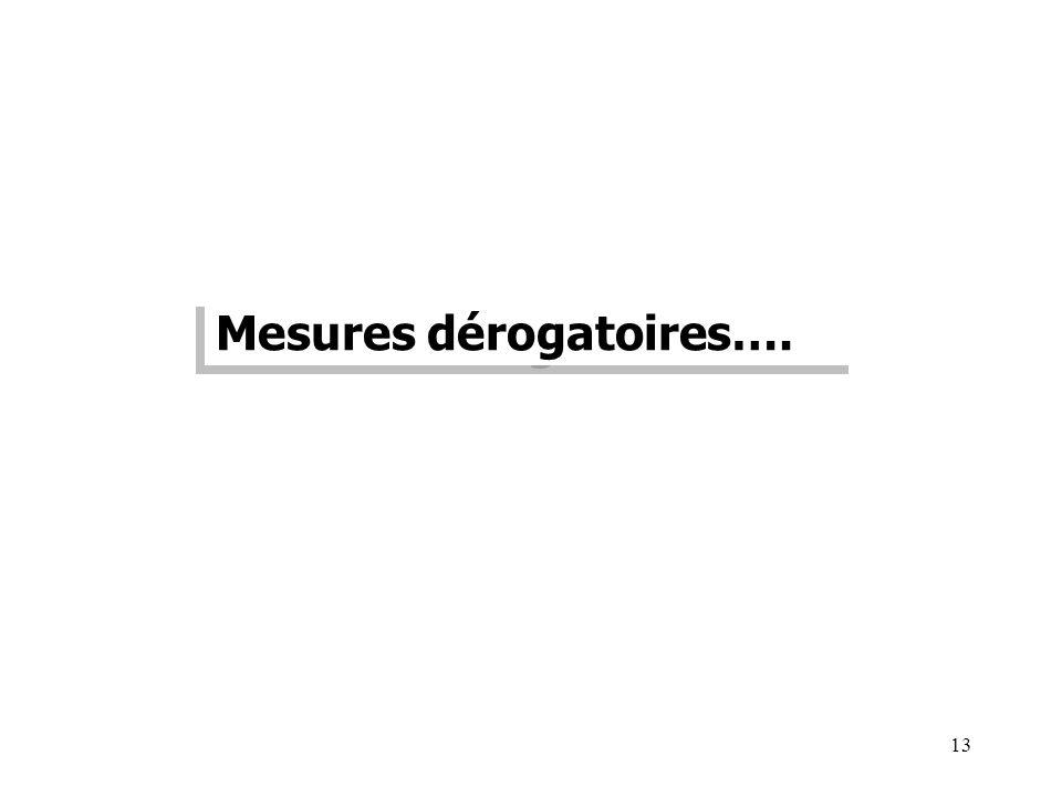 13 Mesures dérogatoires….