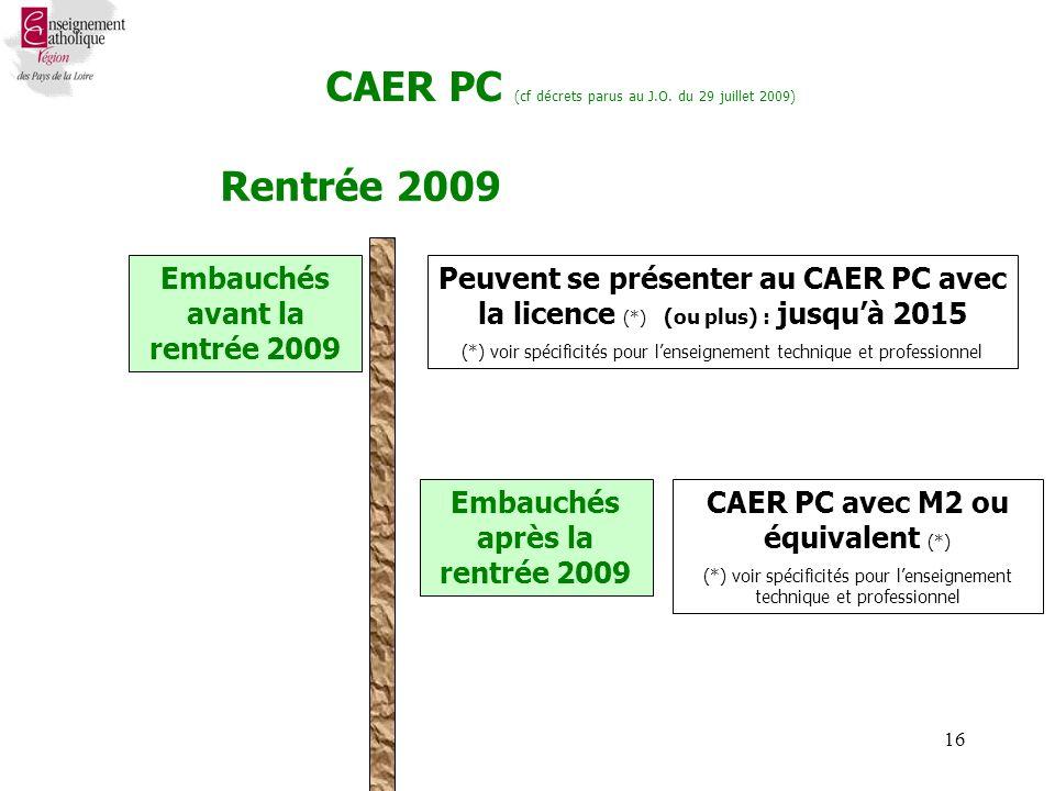 16 Rentrée 2009 Peuvent se présenter au CAER PC avec la licence (*) (ou plus) : jusquà 2015 (*) voir spécificités pour lenseignement technique et professionnel Embauchés avant la rentrée 2009 CAER PC (cf décrets parus au J.O.