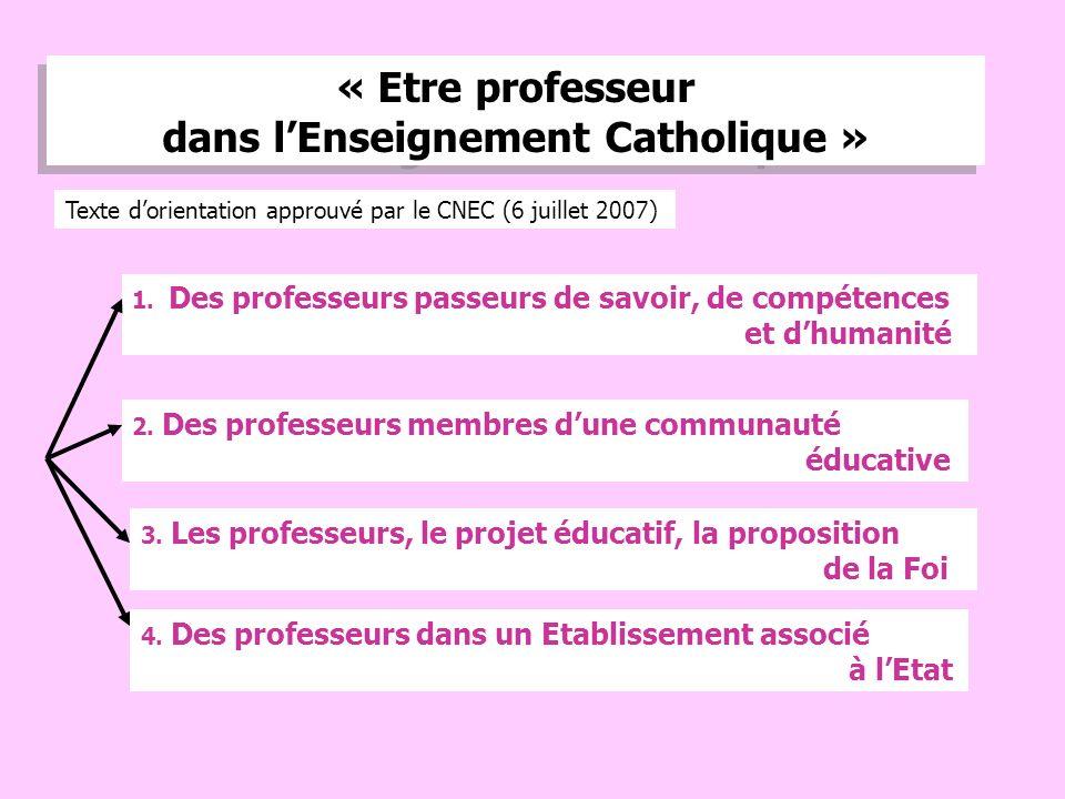3 « Etre professeur dans lEnseignement Catholique » 1.