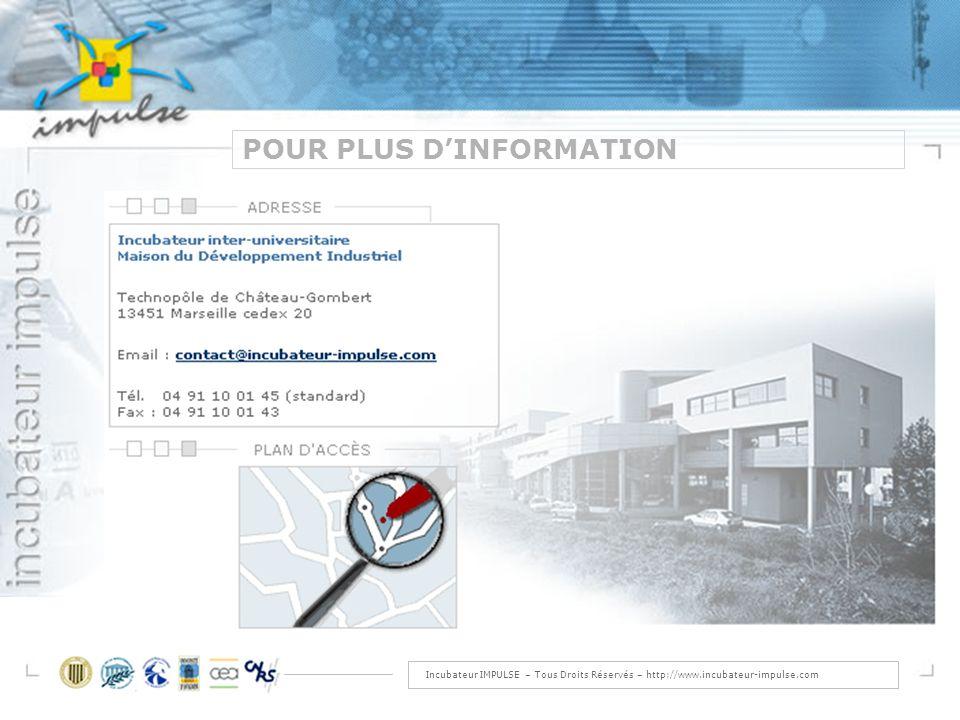 Incubateur IMPULSE – Tous Droits Réservés – http://www.incubateur-impulse.com POUR PLUS DINFORMATION