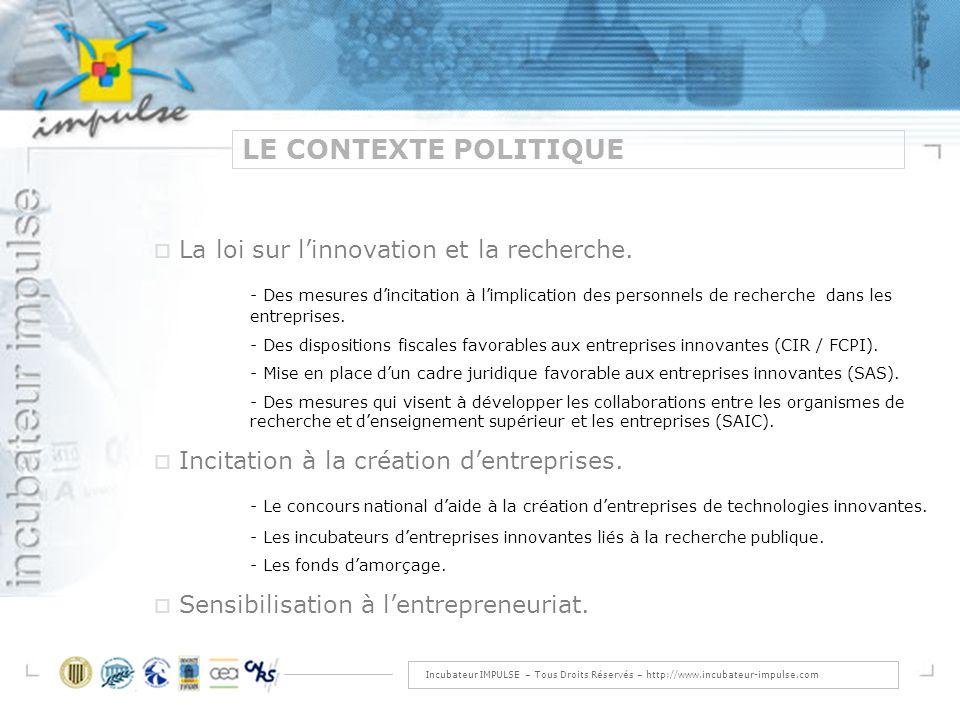 Incubateur IMPULSE – Tous Droits Réservés – http://www.incubateur-impulse.com LE CONTEXTE POLITIQUE La loi sur linnovation et la recherche.
