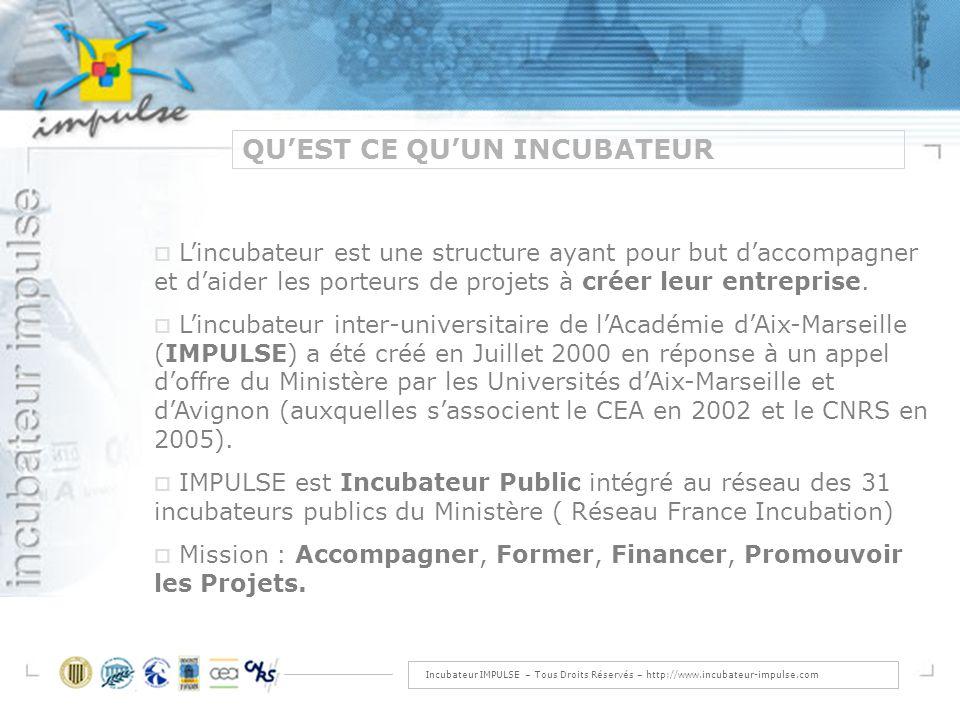 Incubateur IMPULSE – Tous Droits Réservés – http://www.incubateur-impulse.com QUEST CE QUUN INCUBATEUR Lincubateur est une structure ayant pour but daccompagner et daider les porteurs de projets à créer leur entreprise.