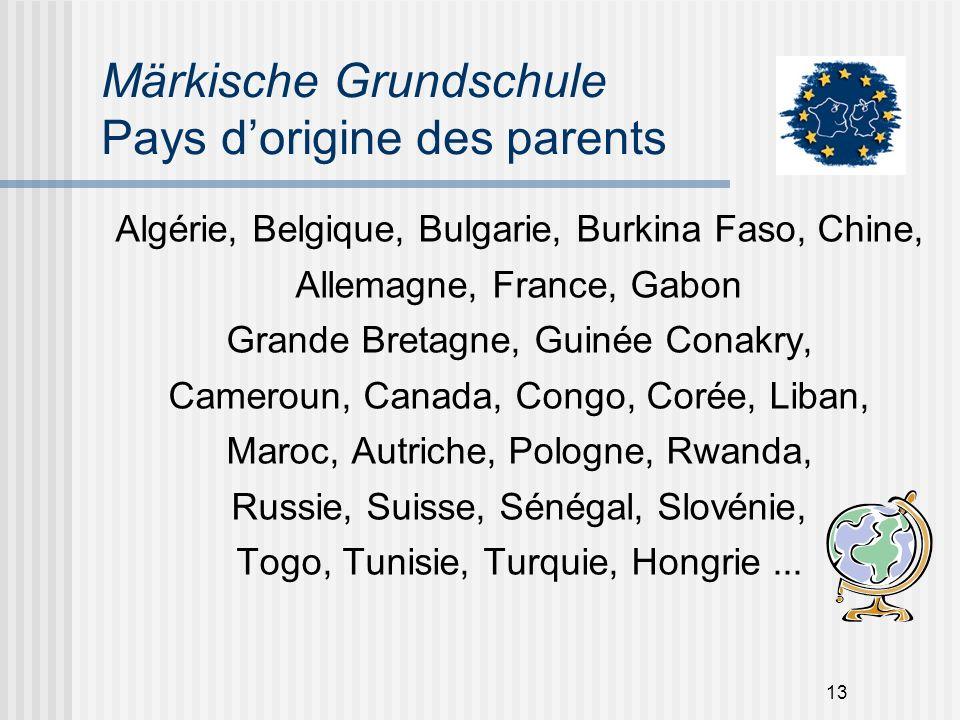 13 Märkische Grundschule Pays dorigine des parents Algérie, Belgique, Bulgarie, Burkina Faso, Chine, Allemagne, France, Gabon Grande Bretagne, Guinée