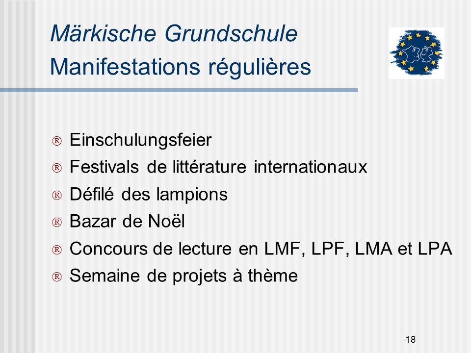 18 Märkische Grundschule Manifestations régulières Einschulungsfeier Festivals de littérature internationaux Défilé des lampions Bazar de Noël Concour