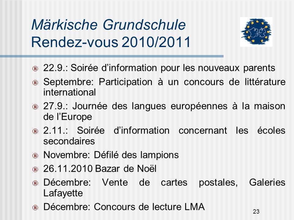 23 Märkische Grundschule Rendez-vous 2010/2011 22.9.: Soirée dinformation pour les nouveaux parents Septembre: Participation à un concours de littérat