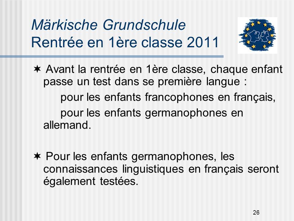 26 Märkische Grundschule Rentrée en 1ère classe 2011 Avant la rentrée en 1ère classe, chaque enfant passe un test dans se première langue : pour les e
