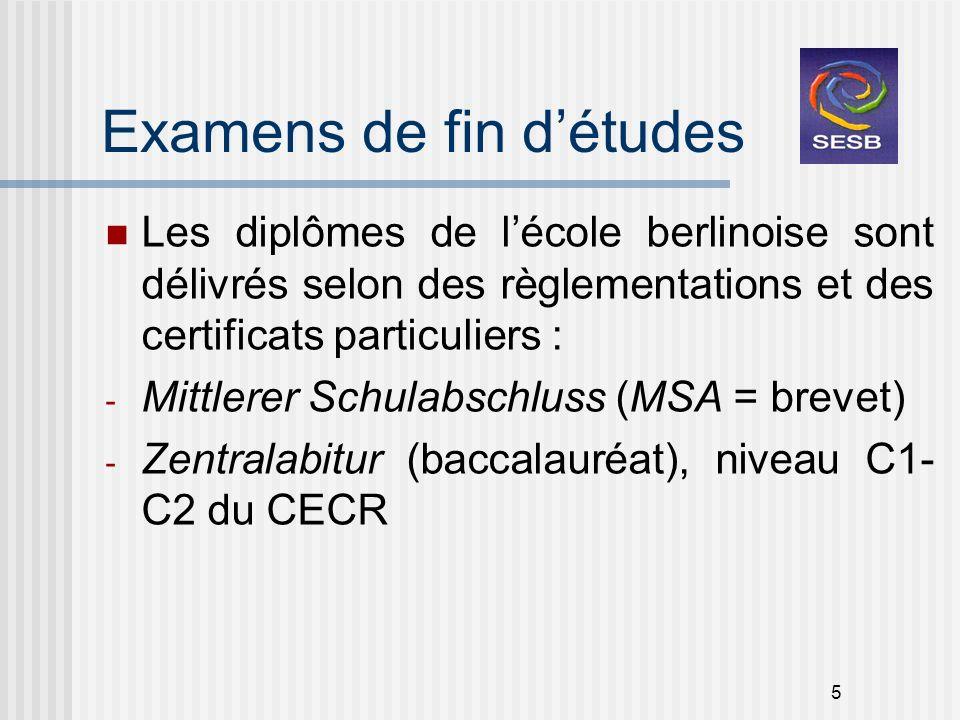 5 Examens de fin détudes Les diplômes de lécole berlinoise sont délivrés selon des règlementations et des certificats particuliers : - Mittlerer Schul