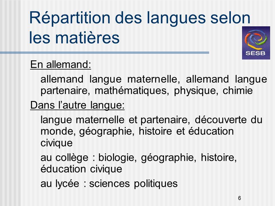 6 Répartition des langues selon les matières En allemand: allemand langue maternelle, allemand langue partenaire, mathématiques, physique, chimie Dans