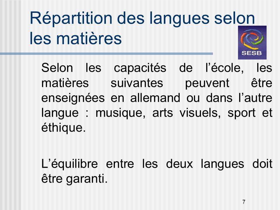 7 Répartition des langues selon les matières Selon les capacités de lécole, les matières suivantes peuvent être enseignées en allemand ou dans lautre